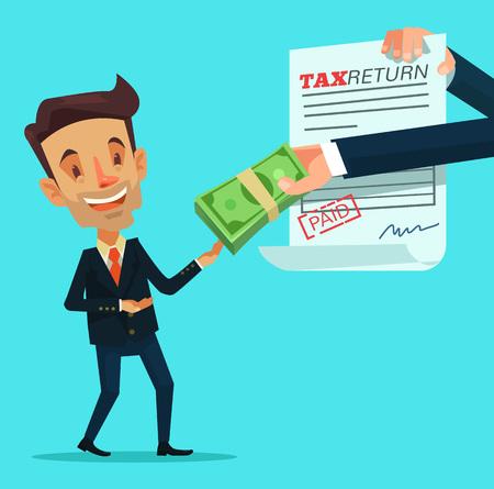 tax return: Tax return. Vector flat illustration
