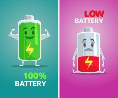 pila: batería baja y batería llena. Vector ilustración plana Vectores