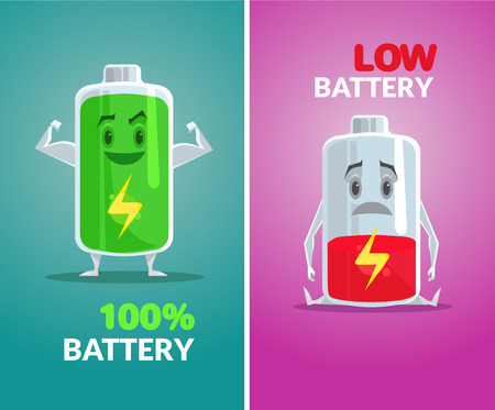 Lage batterij en volle batterij. Vector flat illustratie