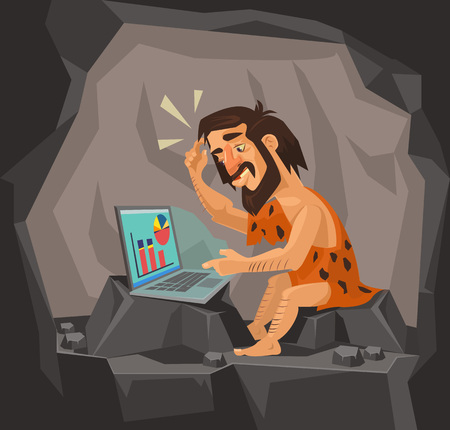 Caveman met behulp van laptop. Vector flat cartoon illustratie