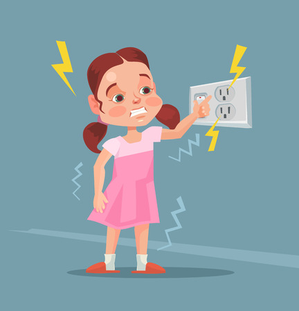 Little girl touching covered socket. Vector flat cartoon illustration