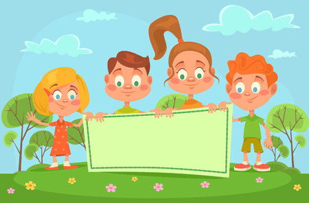 kinder garden: Children banner. Vector flat cartoon illustration
