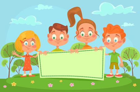 niños con pancarta: Los niños de la bandera. Vector ilustración de dibujos animados plana Vectores