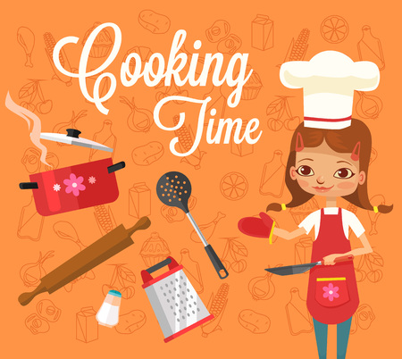 cooking time: Cooking time. Vector flat illustration