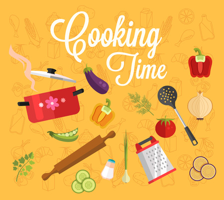 caffe: Cooking time. Vector flat illustration