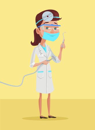 Female Dentist. Vector flat cartoon illustration