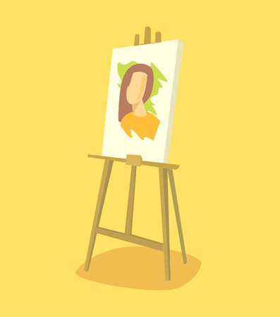 easel: Easel with woman portrait. Vector flat illustration