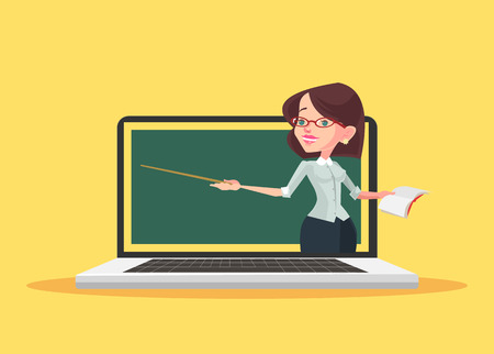 Online education. Vector flat illustration Vectores