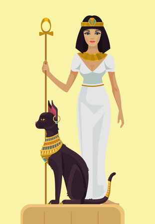 black women hair: Cleopatra and black cat. Vector flat illustration