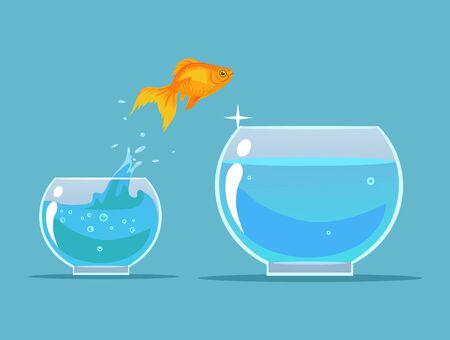 gold fish bowl: Goldfish making leap. Vector flat cartoon illustration