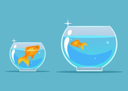 boss: Gold fish. Vector flat cartoon illustration Illustration