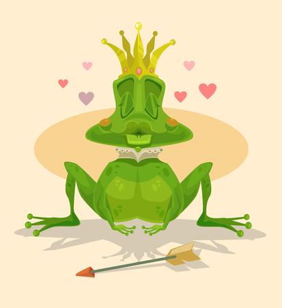 frog queen: Queen frog. Vector flat cartoon illustration