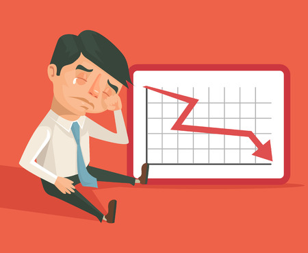 graph down: Business fail. Graph down vector flat illustration Illustration