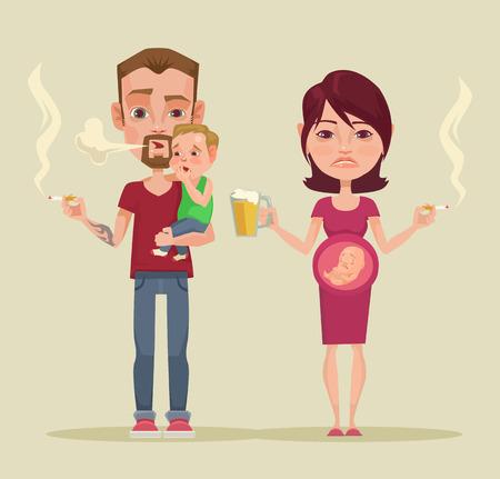 pareja de adolescentes: malos padres. Vector ilustración plana