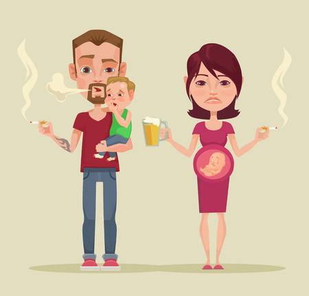 borracho: malos padres. Vector ilustraci�n plana
