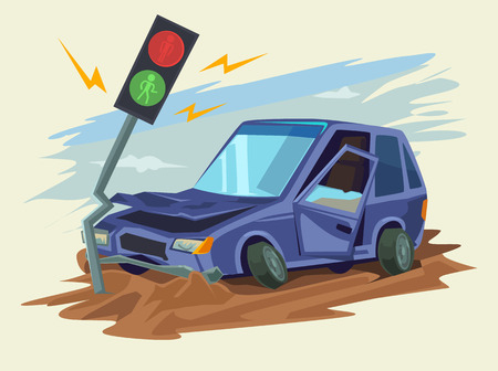 broken down: Car crash road accident. Vector flat illustration