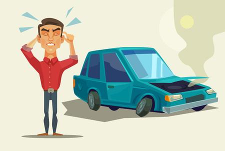 Auto aufgeschlüsselt. Wütender Mann. Vector flache Karikatur Illustration