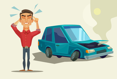 broken down: Car broken down. Angry man. Vector flat cartoon illustration Illustration