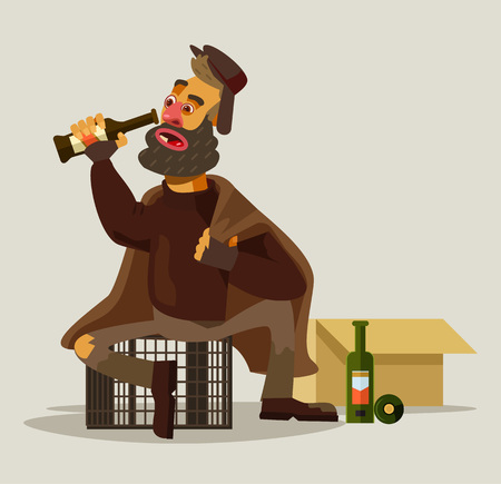 drunkard: Homeless man drinking alcohol. Vector flat illustration Illustration