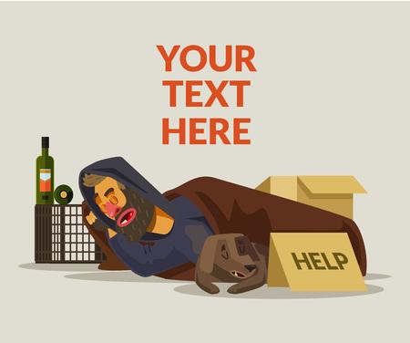 vagabundos: El hombre sin hogar durmiendo. Vector ilustración de dibujos animados plana