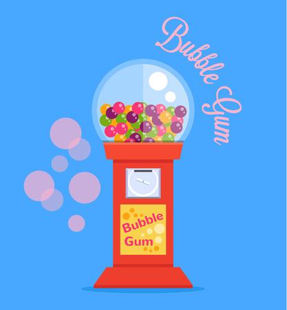 bubble gum: Bubble gum machine. Vector flat illustration Illustration