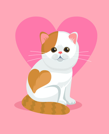 cartoon nose: Cute cat with flat nose and heart on back. Vector flat cartoon illustration