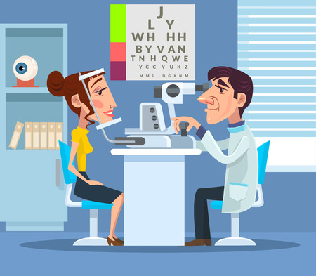 ophthalmologist: Patient visiting ophthalmologist. Vector flat cartoon illustration