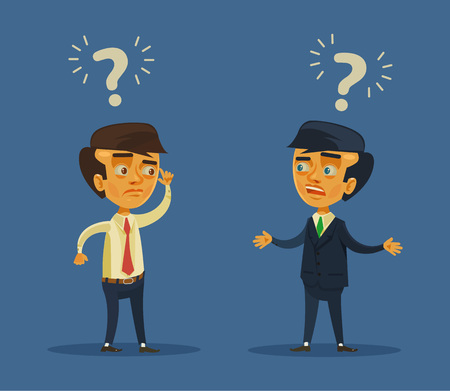 misunderstanding: Business conflict. Vector flat cartoon illustration