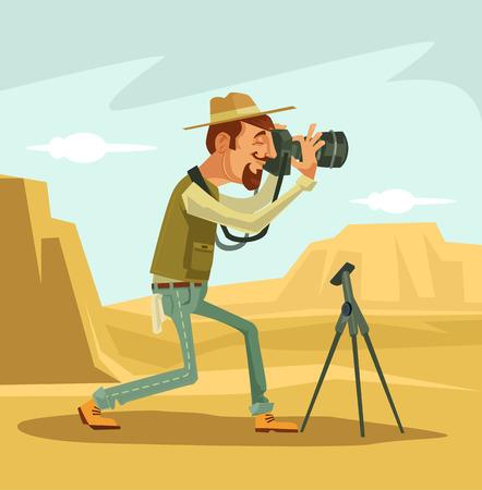 microstock: Photographer character. Vector flat cartoon illustration
