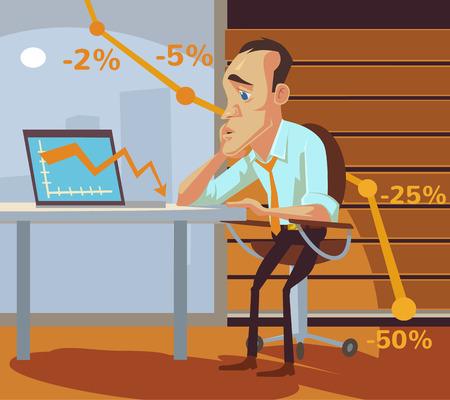 fracasan los negocios. Vector ilustración de dibujos animados plana