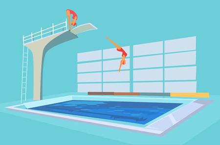 springboard: Piscina deporte. Vector ilustración de dibujos animados plana