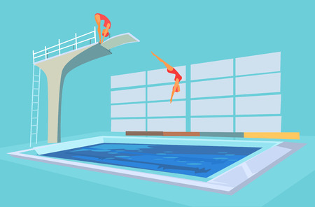 springboard: Sport pool. Vector flat cartoon illustration