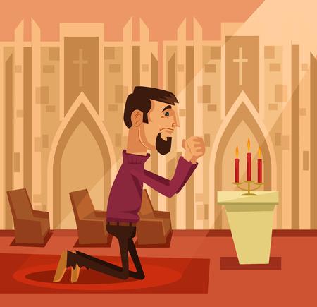 기도하는 남자. 벡터 플랫 만화 일러스트 레이션