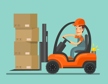 lading: Forklift truck with worker. Vector flat illustration