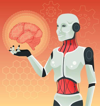 Robot femme tient cerveau humain. Vector illustration Vecteurs