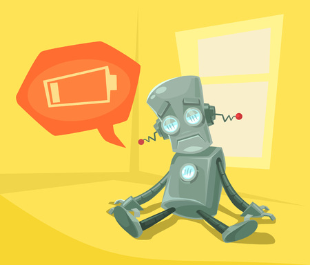 unplug: Robot low with battery. Vector flat cartoon illustration Illustration