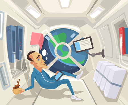 to gravity: Astronaut in zero gravity. Vector flat cartoon illustration Illustration