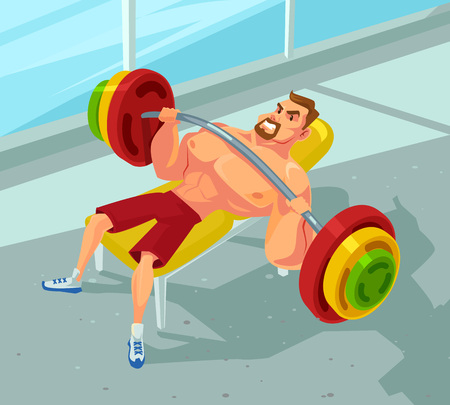press: Weightlifting in a gym. Vector flat cartoon illustration Illustration