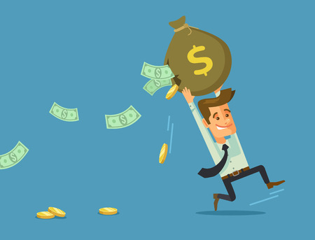 losing money: Businessman losing money. Vector flat cartoon illustration