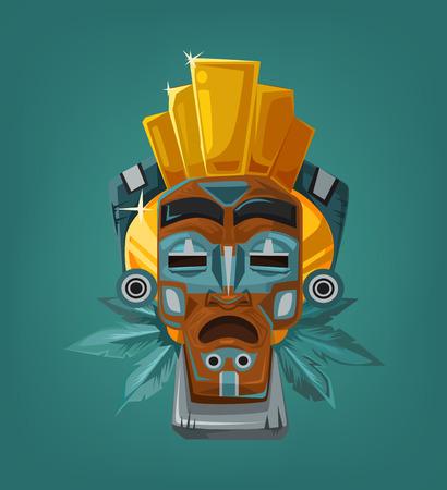 cultura maya: máscara tribal étnica. Ilustración vectorial de dibujos animados plana
