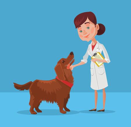 doctor vector: Doctor with dog. Vector flat cartoon illustration