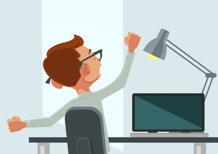busy office: Good morning. Vector flat cartoon illustration