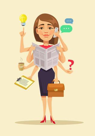 mulher: Mulher multitarefa. Vector a ilustração dos desenhos animados plana