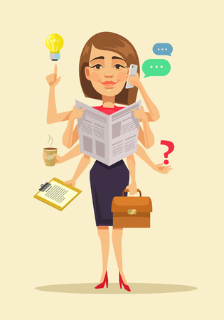 multitasking: Multitasking woman. Vector flat cartoon illustration