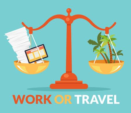 Trabajar o viajar. Vector ilustración de dibujos animados plana Foto de archivo - 54960940
