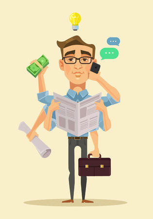 multitasking: Multitasking man. Vector flat cartoon illustration