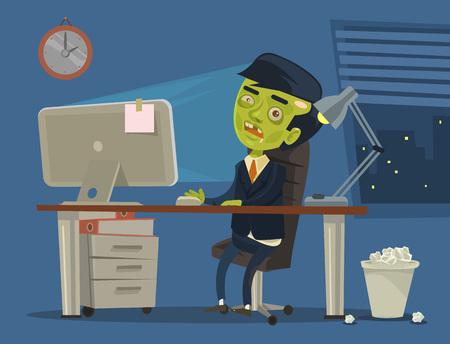 trabajador del zombi. Vector ilustración de dibujos animados plana