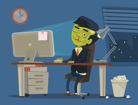 Zombie worker. Vector flat cartoon illustration Illusztráció