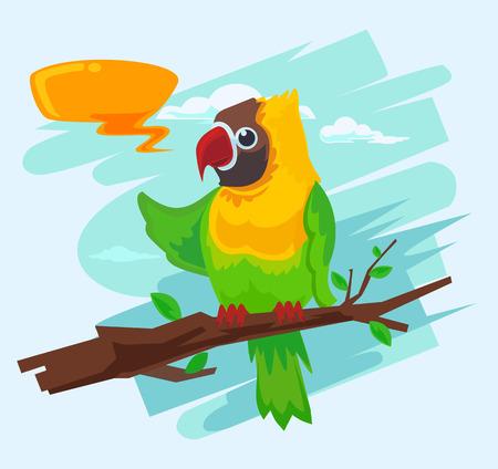 guacamaya caricatura: Loro guacamayo de dibujos animados. Vector ilustración plana