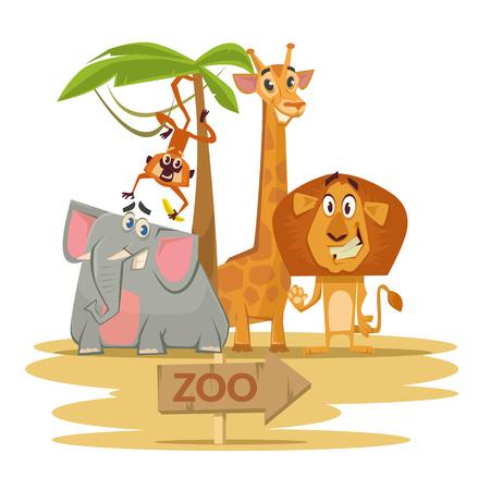childrens book: Zoo. Vector flat cartoon illustration